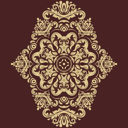 gold circle: Oriental pattern with arabesques and floral elements. Traditional classic golden ornament