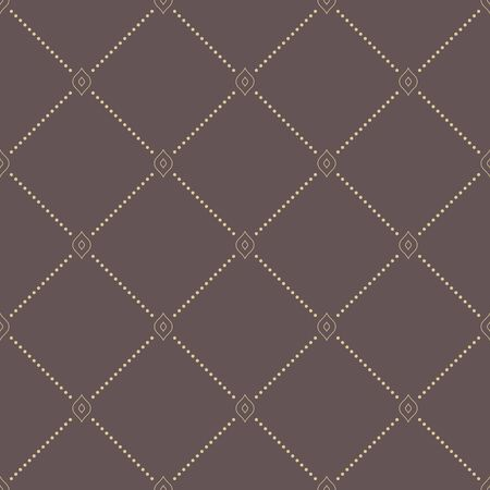 dotted lines: Geometric repeating vector ornament with diagonal dotted lines. Seamless abstract modern brown and golden pattern