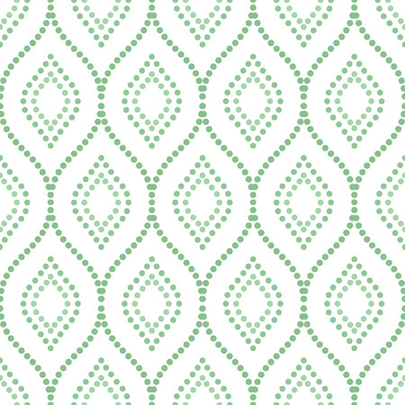 doted: Seamless ornament. Modern stylish geometric pattern with repeating green doted waves Stock Photo