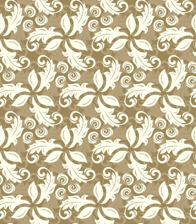 fine: Floral ornament. Seamless abstract classic fine golden and white pattern Stock Photo