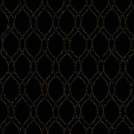 abstract art background: Seamless vector ornament. Modern stylish geometric pattern with golden dotted wavy lines