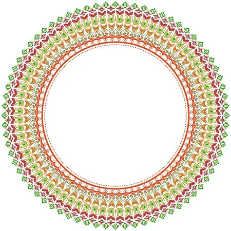 orient: Classic round frame with arabesques and orient colorful elements. Abstract fine ornament Stock Photo