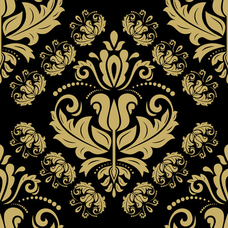 colord: Oriental classic pattern. Seamless abstract black and golden background Stock Photo