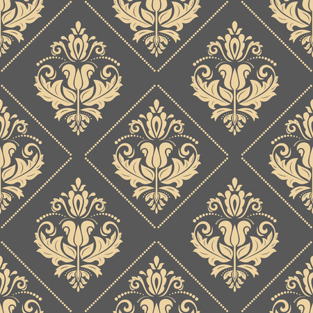 gold leafs: Oriental vector classic ornament. Seamless abstract golden pattern