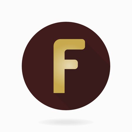 friend  nobody: Fine golden letter F in the brown circle. Flat design and long shadow effect