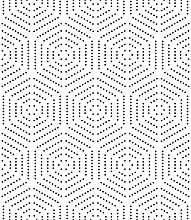 color pattern: Geometric repeating ornament with black dotted hexagons. Seamless abstract modern pattern