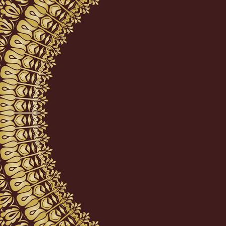 frilly: Oriental vector abstract half-round golden frame with arabesques and floral elements