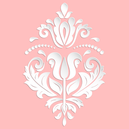 volume: Oriental vector pink and white ornament. Nice traditional pattern with volume 3D elements, shadows and highlights Illustration