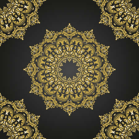 gold leafs: Oriental classic black and golden pattern. Seamless abstract background Stock Photo