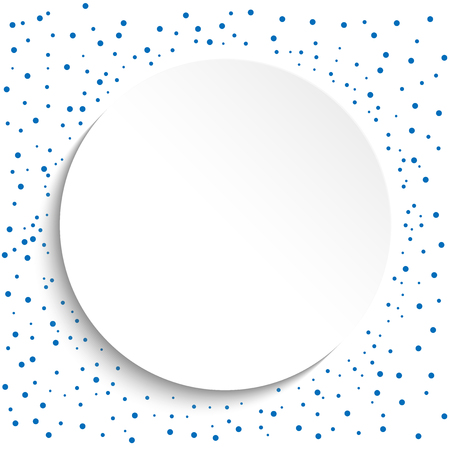 fine: Fine vector frame with blue dots and volume circle. Fine greeting card