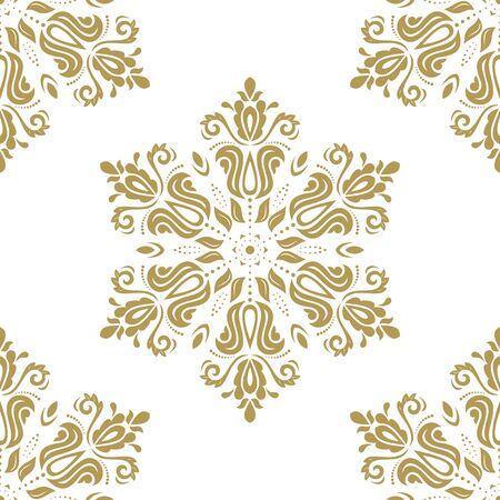 gold leafs: Oriental classic pattern. Seamless abstract golden background