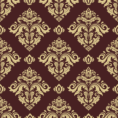 damask: Damask seamless ornament. Traditional vector pattern. Classic oriental brown and golden background