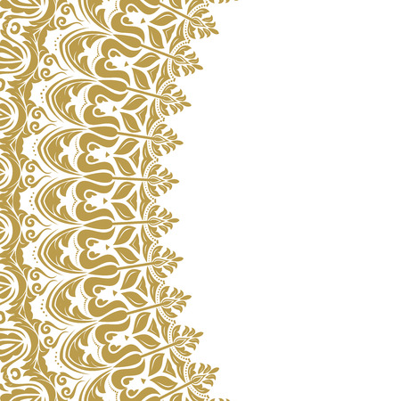 frilly: Oriental vector abstract frame with golden arabesques and floral elements. Fine greeting card Illustration