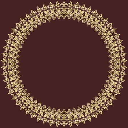 frilly: Oriental vector round golden frame with arabesques and floral elements. Fine greeting card Illustration