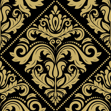 leafs: Oriental vector classic pattern. Seamless abstract black and golden background