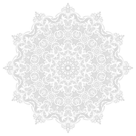 laced: Damask vector floral pattern with traditional elements. Abstract oriental light silver round ornament