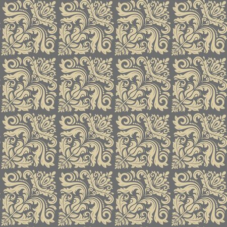 renaissance art: Damask seamless ornament. Traditional vector golden diagonal pattern. Classic oriental background