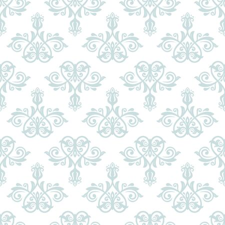 flower ornament: Oriental classic pattern. Seamless abstract light blue and white background