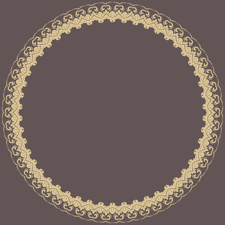 frilly: Oriental abstract round frame with golden arabesques. Fine colored ornament