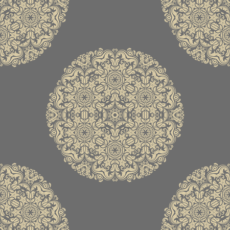 gold leafs: Oriental vector classic golden pattern. Seamless abstract background Illustration