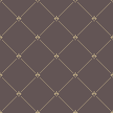 dotted lines: Geometric repeating vector brown ornament with golden diagonal dotted lines. Seamless abstract modern pattern