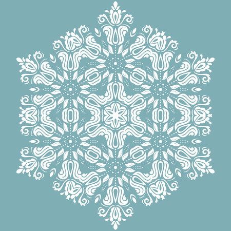 ornamental pattern: Oriental pattern with arabesques and floral elements. Traditional classic light blue and white ornament Stock Photo