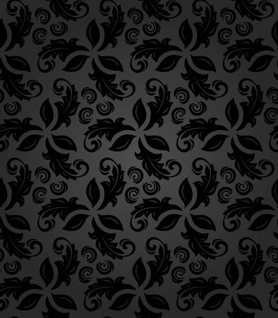 fine: Floral dark ornament. Seamless abstract classic fine pattern Stock Photo