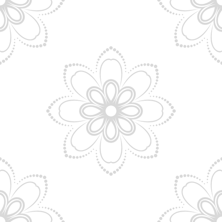 fine: Floral vector light gray ornament. Seamless abstract classic fine pattern Illustration