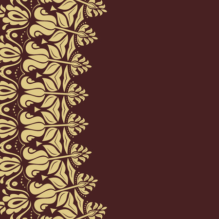 frilly: Oriental vector golden frame with arabesques and floral elements. Fine greeting card Illustration