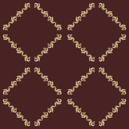 gold leafs: Oriental classic pattern. Seamless abstract brown and golden background