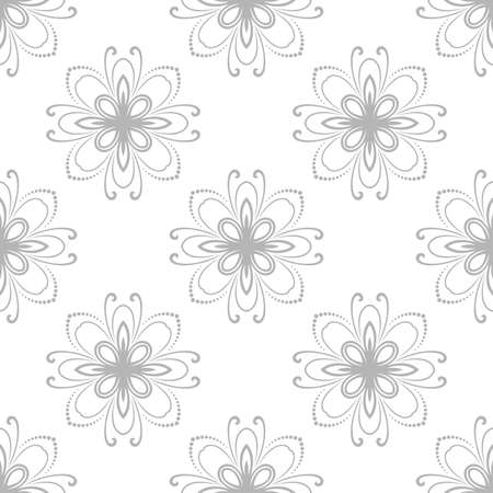 fine silver: Floral ornament. Seamless abstract fine silver pattern Stock Photo