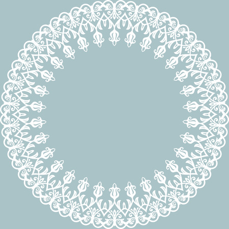 frilly: Oriental abstract round frame with white arabesques and floral elements. Fine greeting card