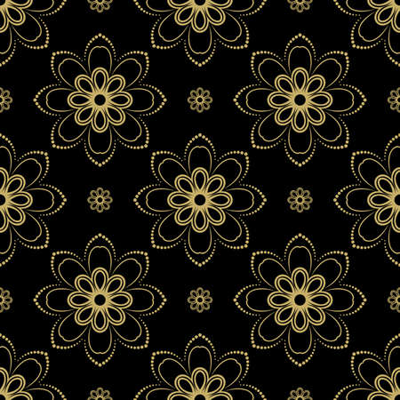 fine: Floral ornament. Seamless abstract black and golden pattern with fine ornament