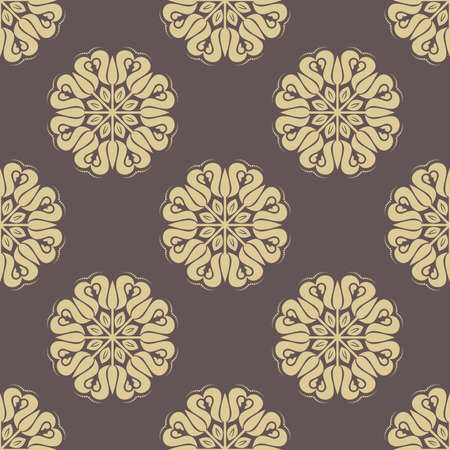 fine: Floral ornament. Seamless abstract pattern with fine golden ornament