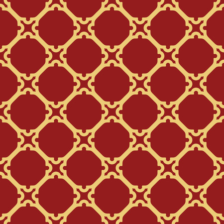 wrapping: Geometric vector red ornament with golden elements. Seamless pattern for wallpapers and backgrounds