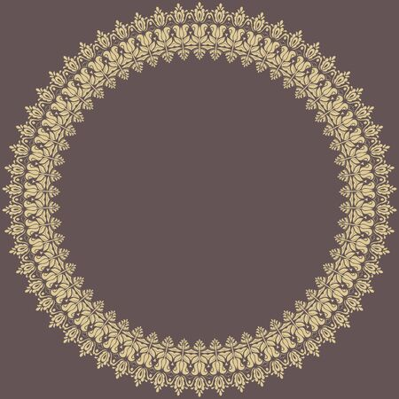 frilly: Oriental abstract round frame with golden arabesques and floral elements. Fine greeting card