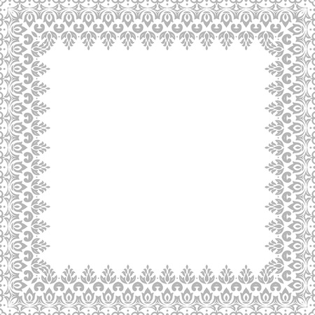 grey background texture: Classic vector square frame with arabesques and orient elements. Abstract fine ornament Illustration