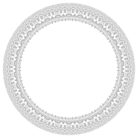frilly: Oriental vector light round frame with arabesques and floral elements. Fine greeting card
