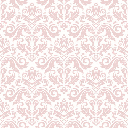 light pink: Damask seamless ornament. Traditional vector pink pattern. Classic oriental background