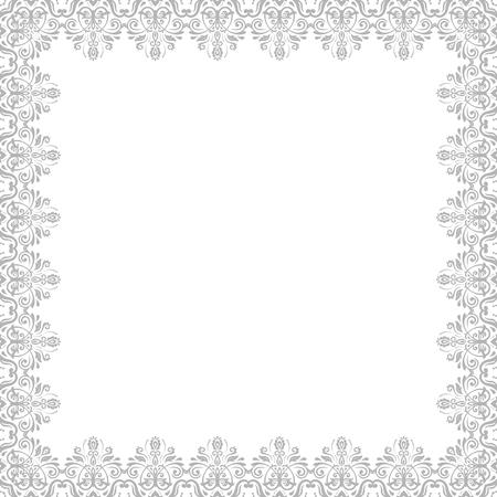 Classic square silver frame with arabesques and orient elements. Abstract fine ornament