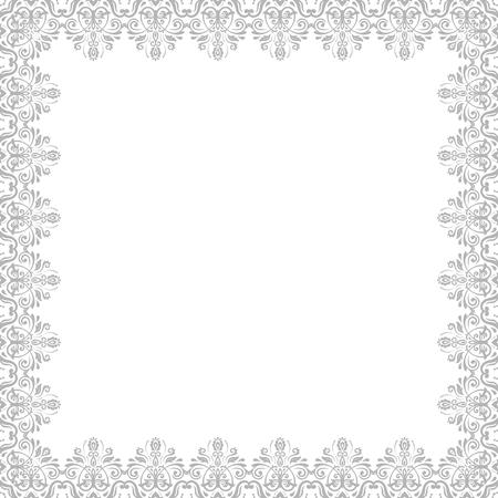 Classic vierkante zilveren frame met arabesken en oriënteren elementen. Abstract fijn ornament Stockfoto - 51131804