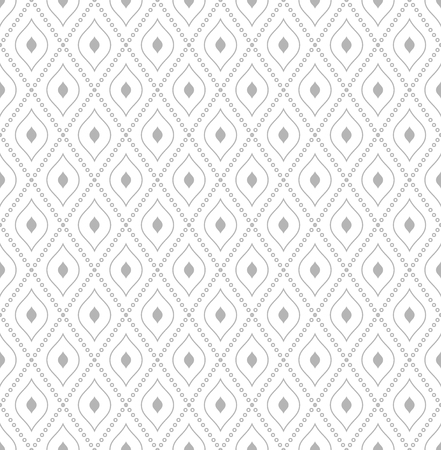 Geometric repeating vector ornament with diagonal dotted lines. Seamless abstract modern light silver pattern Illustration