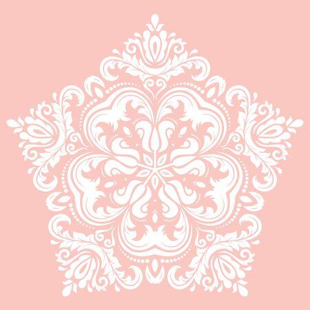 vector del modelo del damasco blanco con elementos orientales y florales de color rosa. Resumen ornamento tradicional