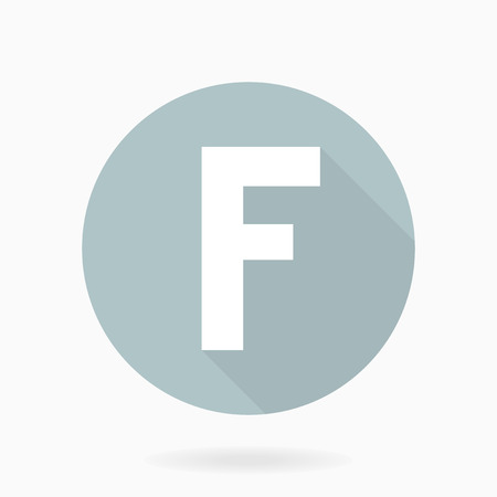 friend  nobody: Fine vector white letter F in the light blue circle. Flat design and long shadow