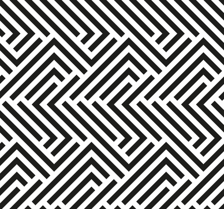 Seamless geometric pattern by stripes. Modern vector background with repeating lines. Black and white wallpaper Illustration