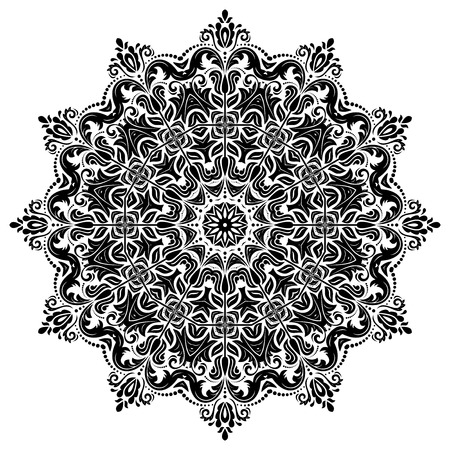 laced: Elegant vector round ornament in the style of barogue. Abstract traditional ornament with oriental elements. Black and white colors Illustration