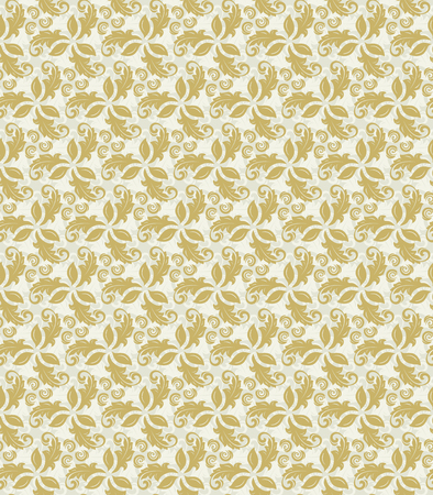 fine: Floral vector golden ornament. Seamless abstract classic fine pattern