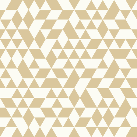 Geometric vector pattern with golden and white triangles. Seamless abstract background