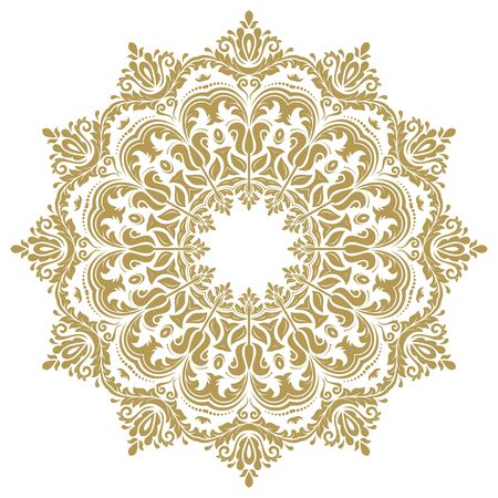 Elegant vector golden ornament in the style of barogue. Abstract traditional round pattern with oriental elements