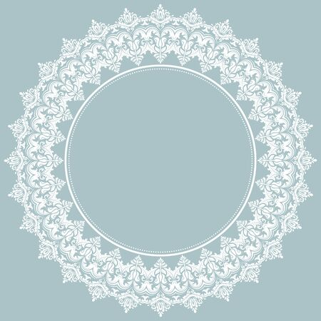 Classic round white frame with arabesques and orient elements. Abstract fine ornament 版權商用圖片